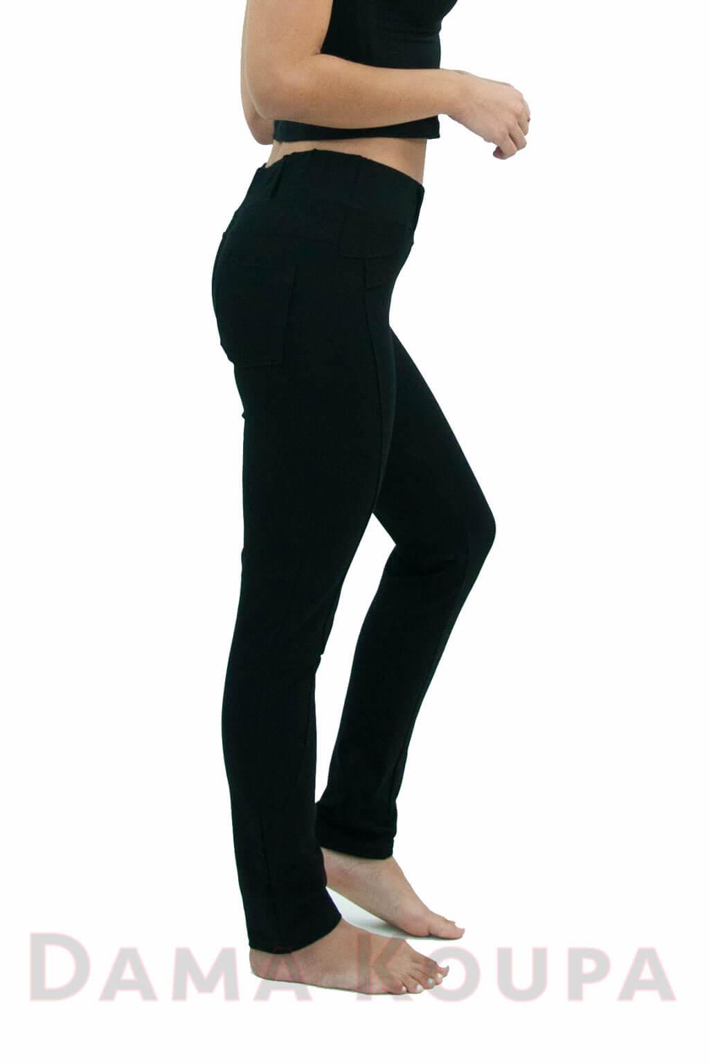 65af8941964c Γυναικείο μαύρο παντελόνι Παντελόνι κολάν μπλε Ψηλόμεσο μαύρο παντελόνι με  τσέπες Παντελονοκολάν μπλε Στενό παντελόνι με τσέπες Καθημερινό παντελόνι  μαύρο