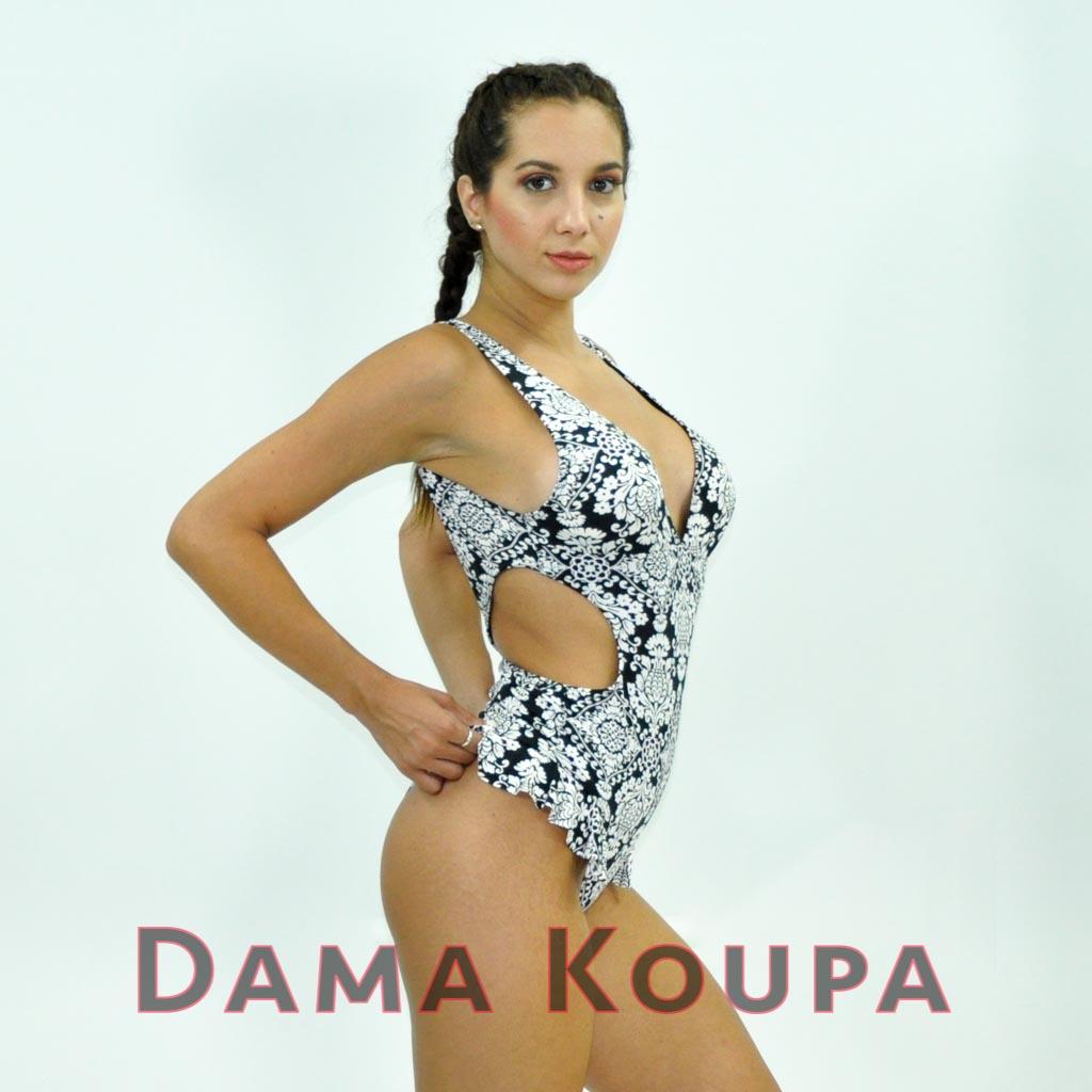 Γυναικείο μαγιό onepiece με ασπρόμαυρα σχέδια σλιπ βραζιλ ... c1f81aa84ce
