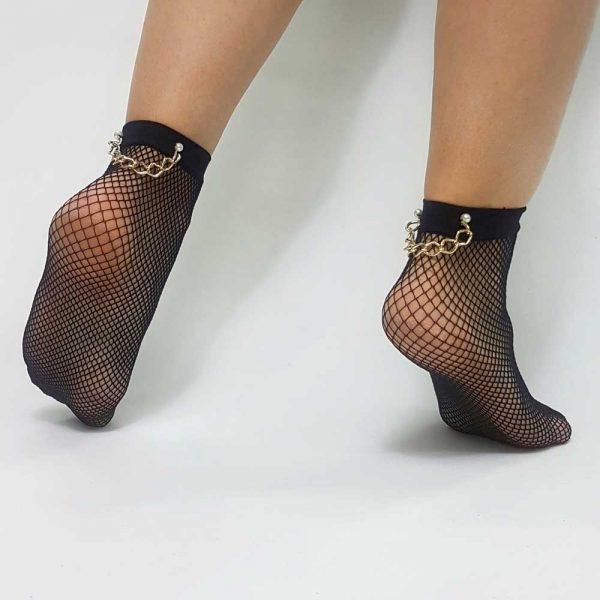 Κάλτσα διχτυωτή με αλυσίδα και πέρλα