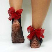 Κάλτσες διχτυωτές με τουλινο φιογκο και περλα