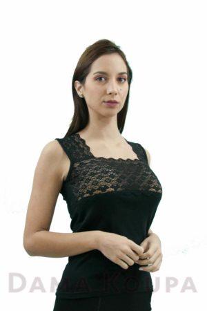 Μπλούζα με δαντέλα κοντό μανίκι