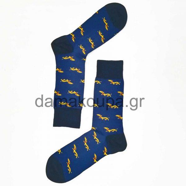 Μπλες κάλτσες ανδρικές με prints