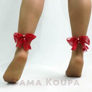 Κάλτσες με φιόγκο πίσω και πέρλες