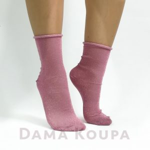Ροζ γυναικείο καλτσάκι lurex