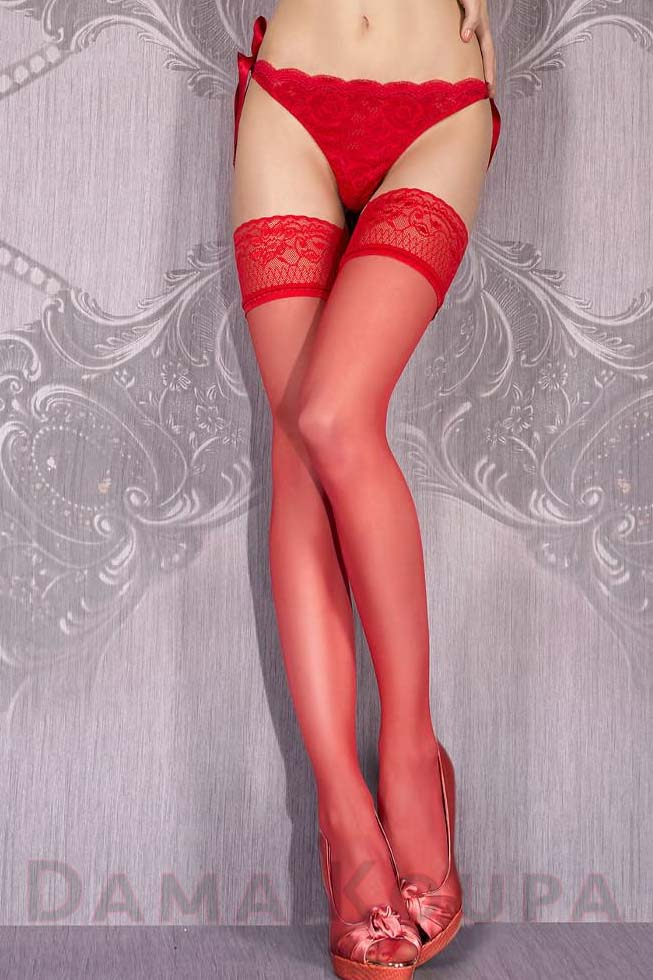 Κόκκινες κάλτσες σιλικόνης με δαντέλα Dama Koupa d4ba11d9502