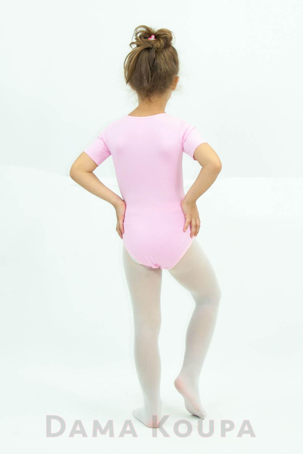 Παιδικό κορμάκι βαμβακολύκρα με κοντό μανίκι ροζ Dama Koupa 48ff5343d0c