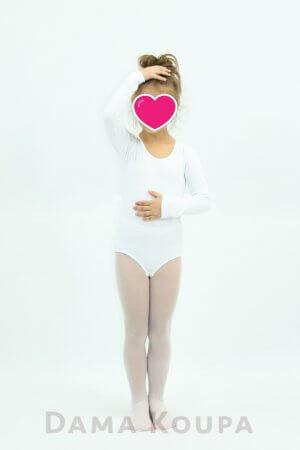 Μακρυμάνικο άσπρο κορμάκι μπαλέτου για παιδί