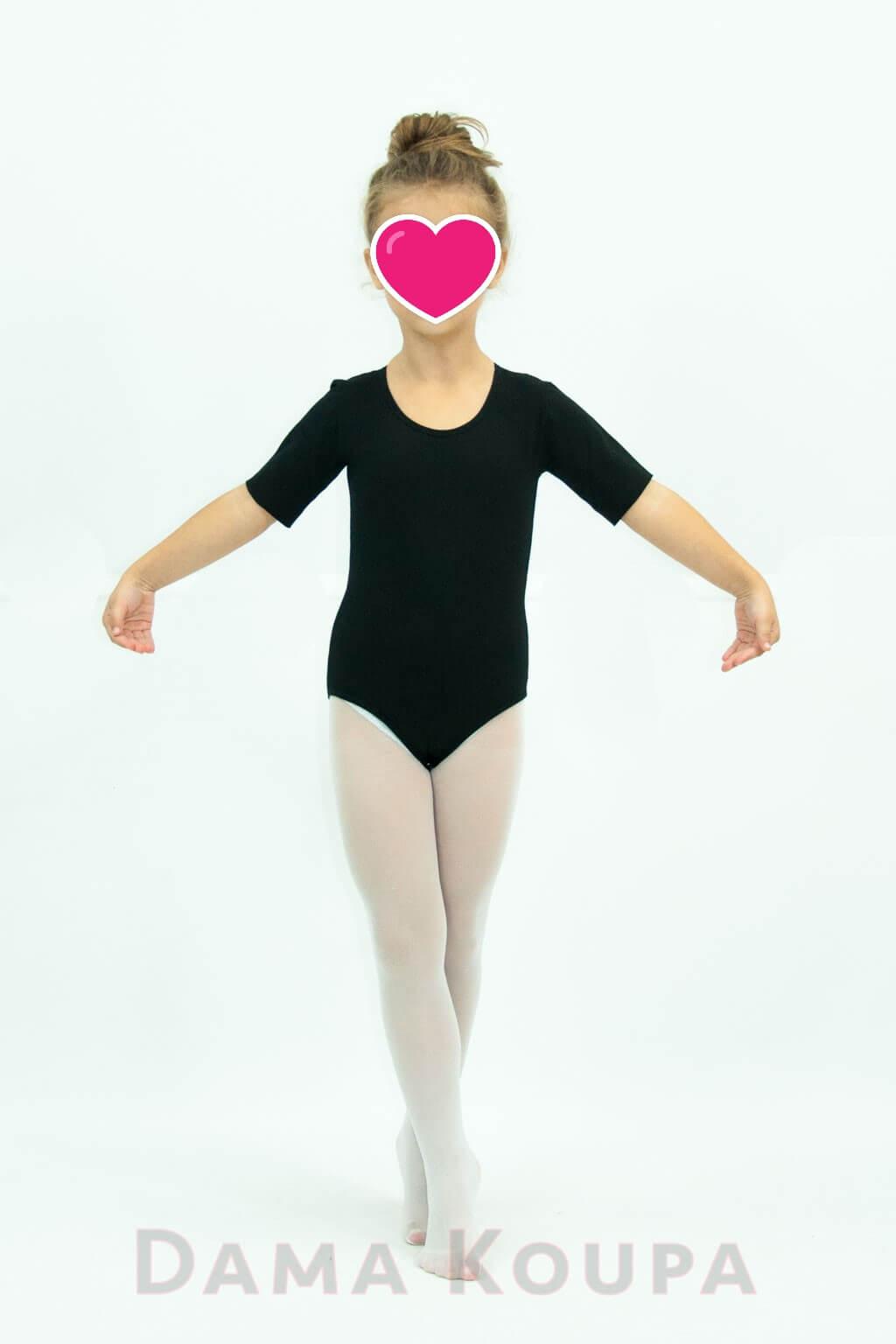 Κοντομάνικο παιδικό κορμάκι χορού σε μαύρο χρώμα Dama Koupa 6d0f27f3867