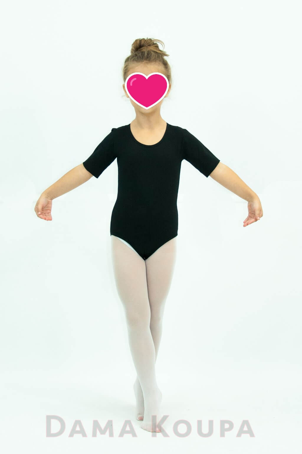 7502c41c0dd Κοντομάνικο παιδικό κορμάκι χορού σε μαύρο χρώμα Dama Koupa