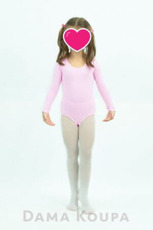 Ροζ κορμάκι μπαλετου με μακρύ μανίκι