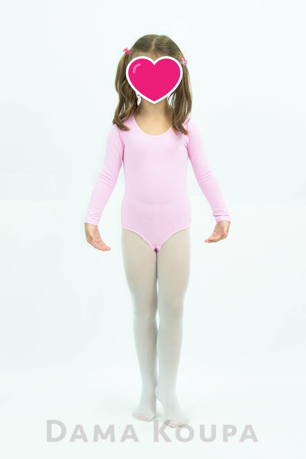 d10f2d702ab Ροζ κορμάκι μπαλετου με μακρύ μανίκι Παιδικό ...