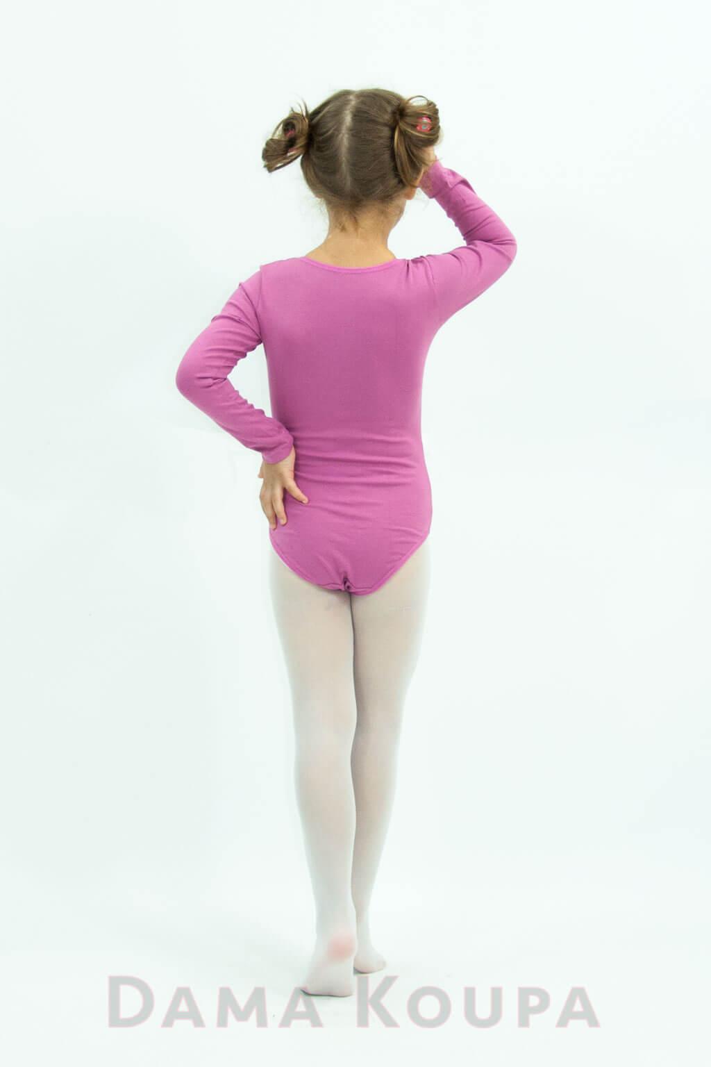 Παιδικό κορμάκι χορού σε ροζ χρώμα Παιδικό κορμάκι μπαλέτου με μακρύ μανίκι 33ad0ab7dcd