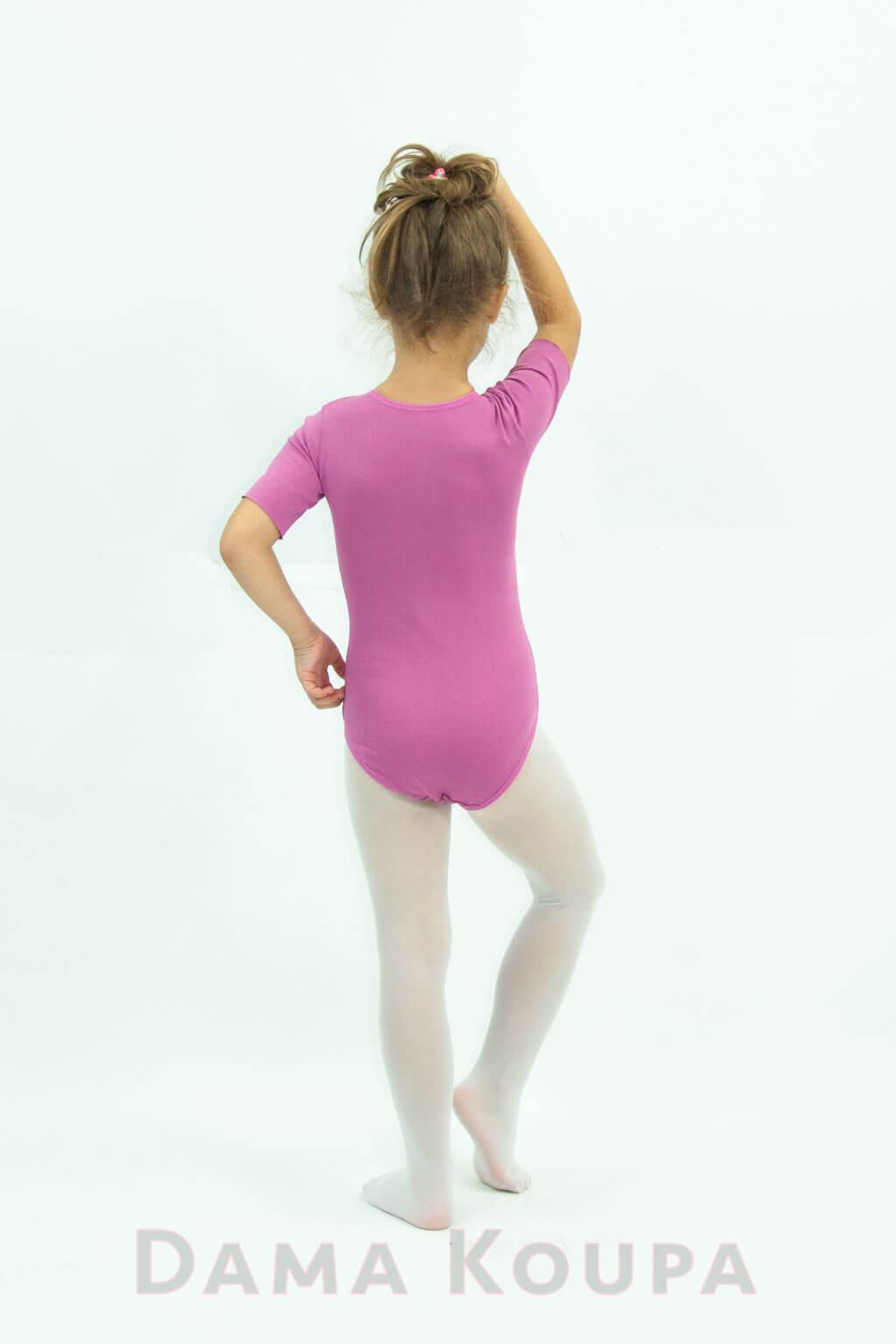 2271049f781 Παιδικό κορμάκι γυμναστικής σε ροζ χρώμα κοντό μανίκι Ροζ κορμάκι ρυθμικής  για παιδιά ...
