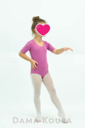 Παιδικό κορμάκι γυμναστικής σε ροζ χρώμα κοντό μανίκι