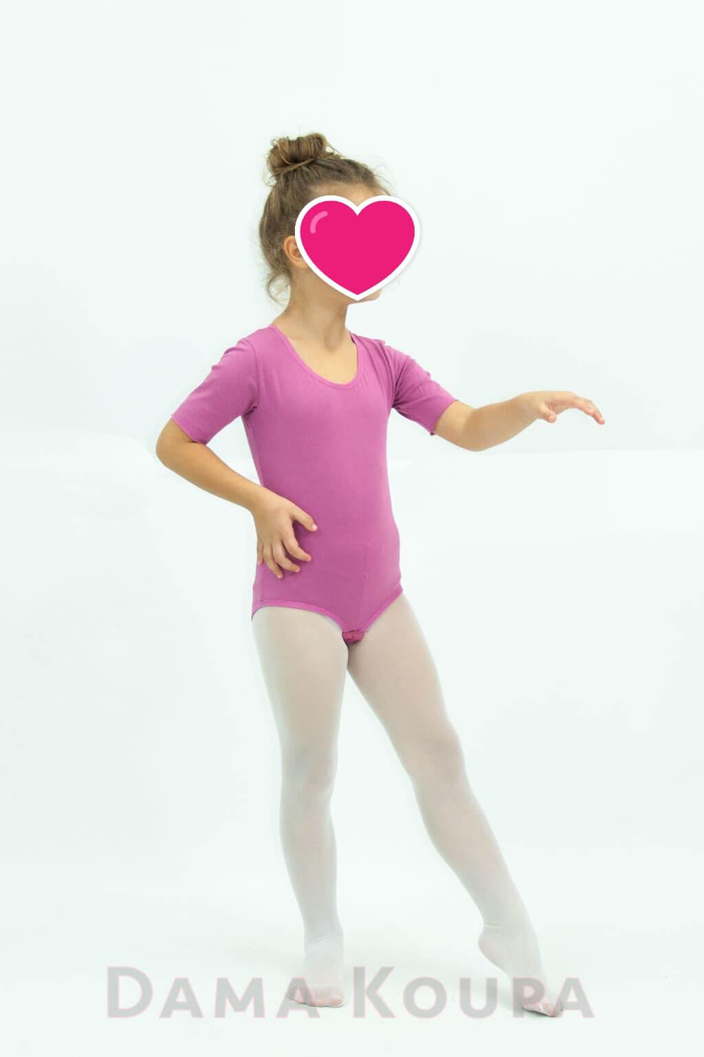 11c4b394f8f Παιδικό κορμάκι γυμναστικής σε ροζ χρώμα κοντό μανίκι Ροζ κορμάκι ρυθμικής  για παιδιά ...