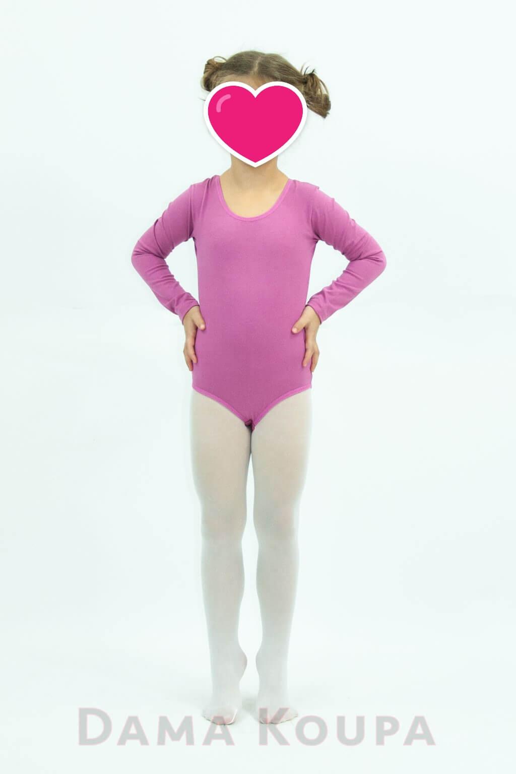 c5af2a38c04 Παιδικό κορμάκι χορού σε ροζ χρώμα Παιδικό κορμάκι μπαλέτου με μακρύ μανίκι