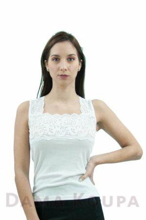 Άσπρη μπλούζα με δαντέλα