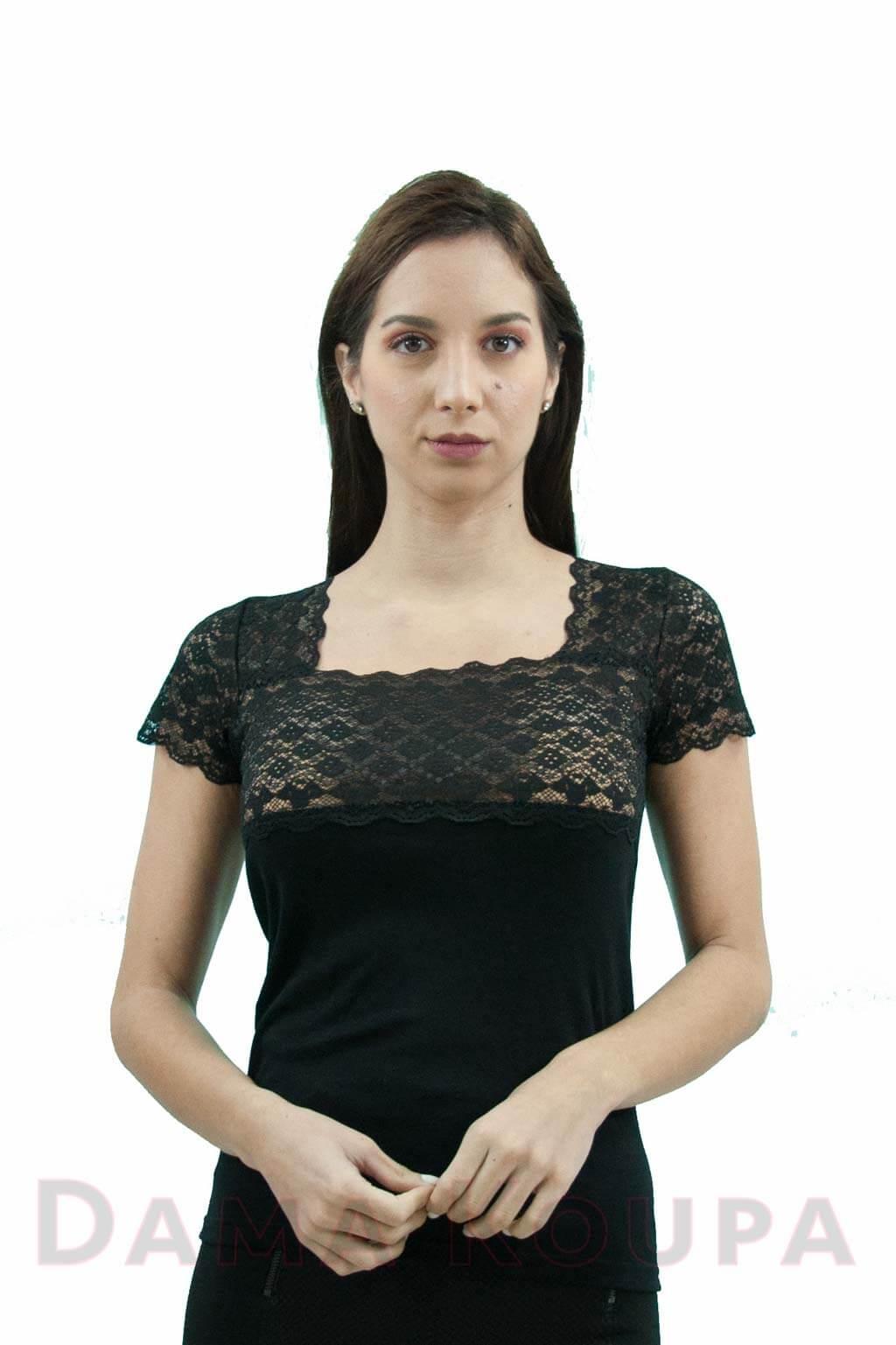 9a9711b9302 Μαύρο μπλουζάκι με δαντέλα Dama Koupa