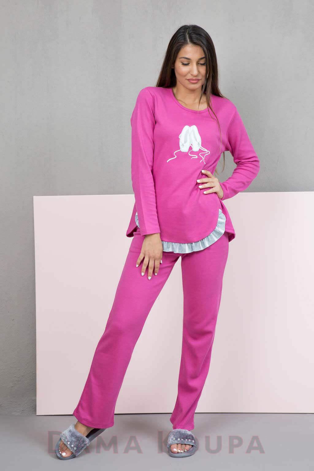 Γυναικεία πιτζάμα με κέντημα πουέντ Φούξ χειμερινή πυτζάμα με βολάν 8734d202479