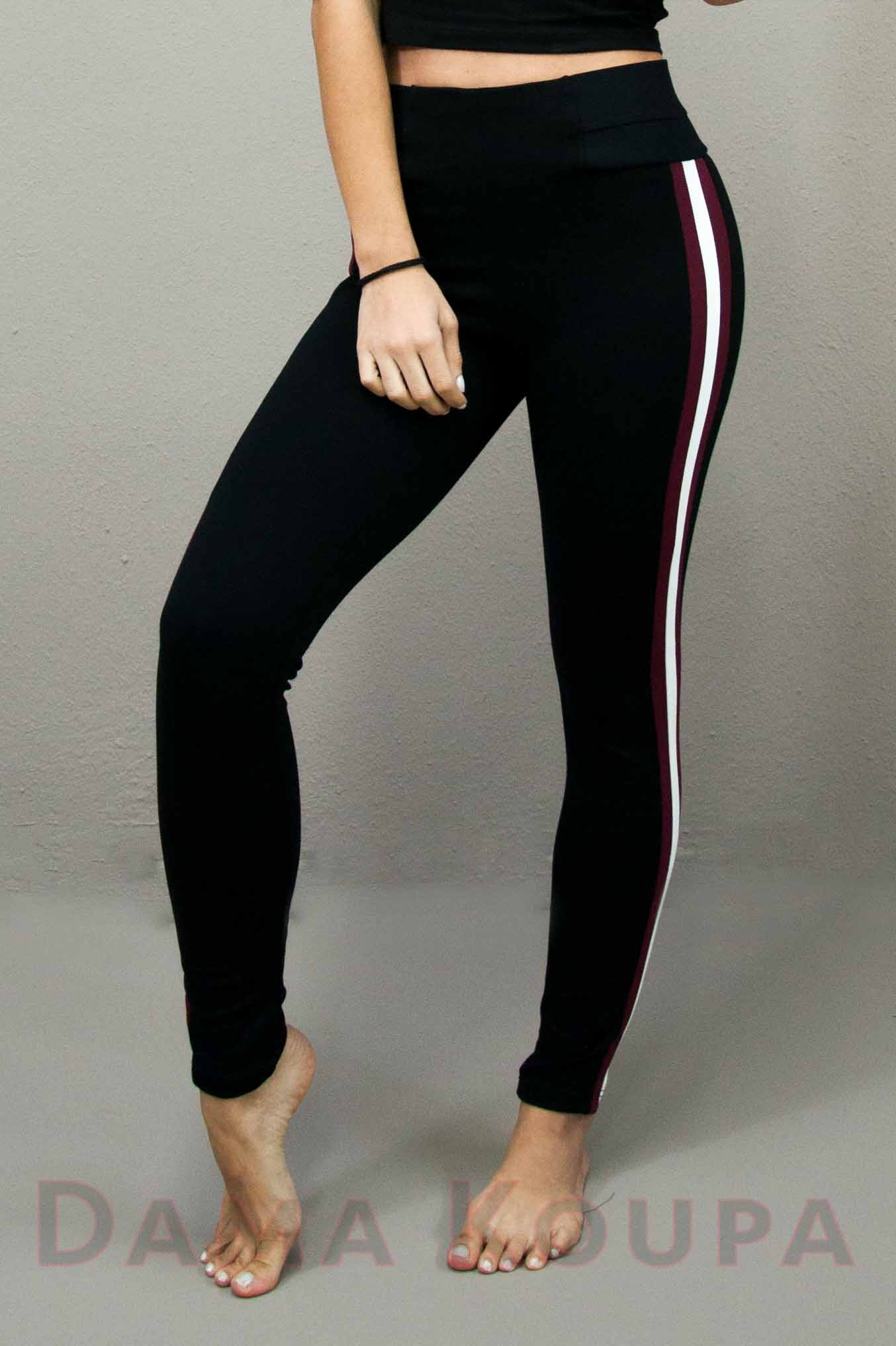 0f75aabe0eb8 Παντελόνι με ρίγες Παντελόνι με ρίγα στο πλάι Παντελόνι μαύρο ...
